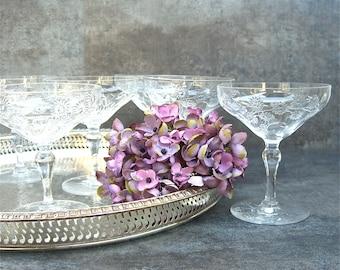 6 Stunning Coupe Champagne Goblets, Cut Crystal, Webb Stuart, Daisies Flowers, Elegant Table, Fine Dining, Celebration Toast