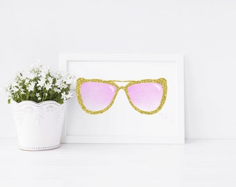 Funky Sunglasses Art Print, art print, gold glitter sunglasses, ideal gift
