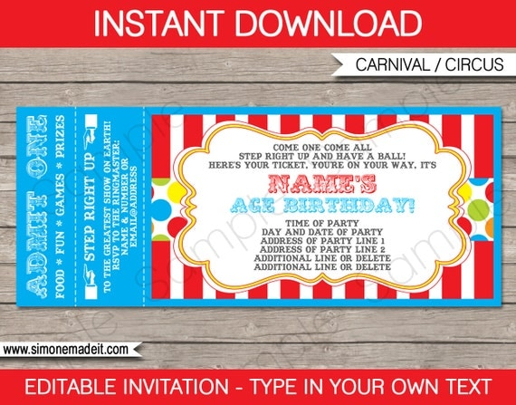 Carnival Party Ticket Invitation Template - Birthday Party Invite ...