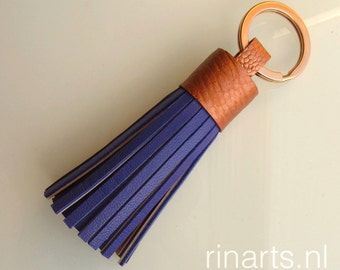 Tassel keychain / tassel keyring / fringe keychain in violet blue goat skin and rosé gold genuine ostrich leg skin top.