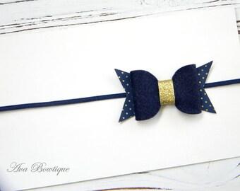 Navy Felt Bow Headband - Navy Baby headband - Girls Navy Bow Headband - Navy Bow Headband