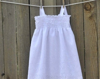 Sale Flowergirl Dress, Smocked White or Ivory Eyelet, Great for Beach weddings, portraits, confiramtions, 9m-10yrs