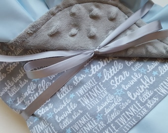 Twinkle Twinkle Little Star Baby Blanket with Minky Backing and Satin Trim- Ready to Ship