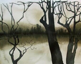 Pond's Edge - Laurel, original watercolor