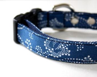 Paisley Dog Collar - Blue, white