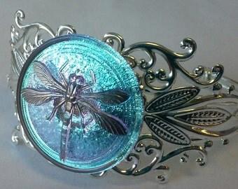Light Blue Czech Glass Dragonfly Filigree Cuff Bracelet