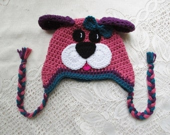 Raspberry, Teal and Purple Puppy Dog Crochet Winter Hat - Photo Prop - Available in Any Size or Color Combination