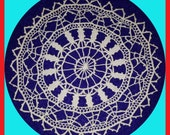 Vintage Elegant French Handmade Crocheted LACE Doily Ecru
