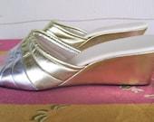 Metallic Wedge Heel Slippers ~ Daniel Green Made in USA  ~  NOS