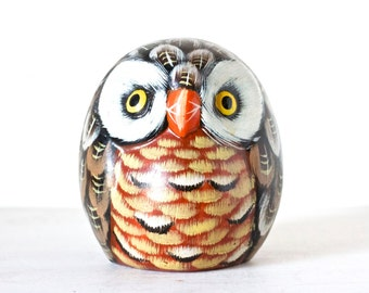 Colorful Owl - Hand Painted Ceramic Figurine - Country Vintage Home Decor