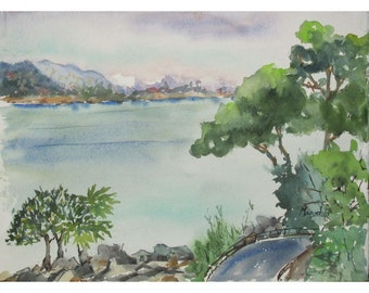 Rooftop View, Santa Margherita Legure, Italy -  an Original Watercolor