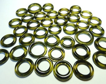 Recycled Amber Green Recycled Kiln Polished Bottle Rings 36 Rings (R928)