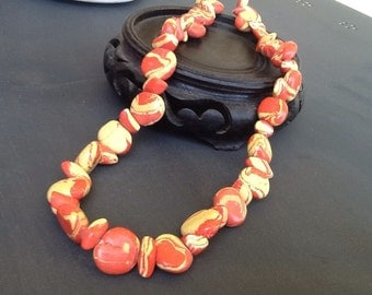 Unusual yellow and orange Mod beaded necklace