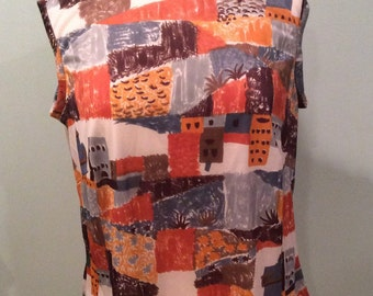 Vintage 1970s Polyester blouse handmade orange blue grey town scene by sunandpearl on etsy