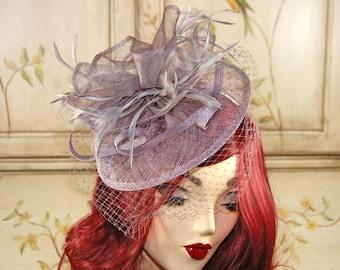 Lilac  Fascinator Hat - Fascinator with Veil - British Tea Party Fascinator - Wedding Fascinator Hat with Birdcage Veil Netting