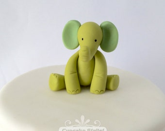 2-Color Gumpaste Elephant Cupcake or Cake Topper, by Cupcake Stylist on Etsy