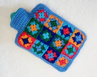 Crochet hot water bottle cover hearts bottle cozy