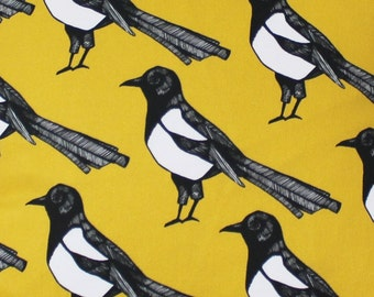 Yellow Magpie Fabric - upholstery fabric - curtain fabric - bird fabric - designer fabric - yellow fabric - fabric by the metre - home decor