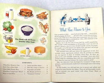 Vintage Cookbook 75 Glamorous Rice Dishes Economical, Too Color Booklet