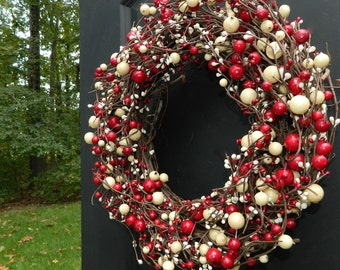 Berry Red and White Wreath -  Wreath - Holiday Wreath