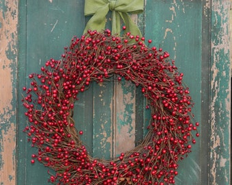 Valentine Wreath Large - Large Wreath - Choose Ribbon - Red Berry Wreath