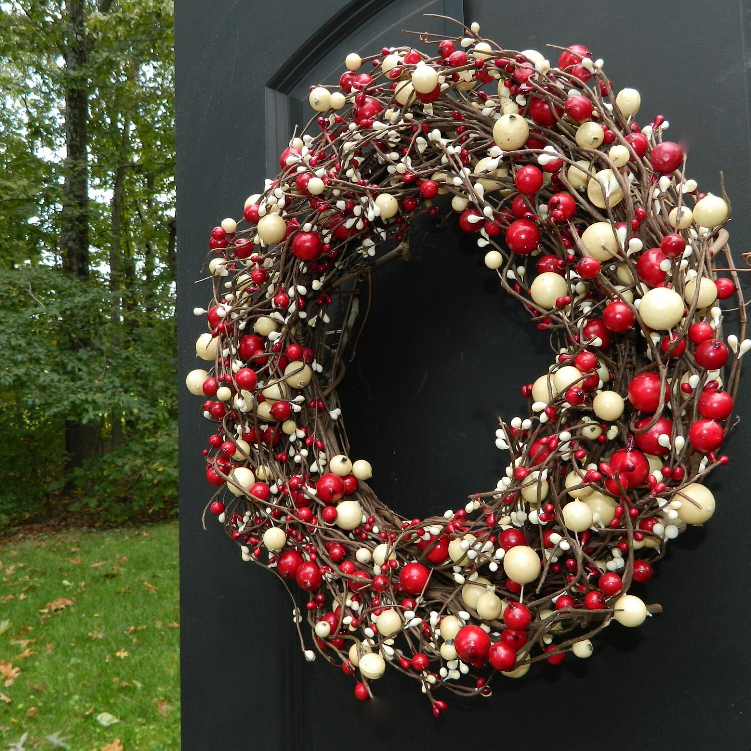Berry Red And White Wreath Wreath Holiday Wreath
