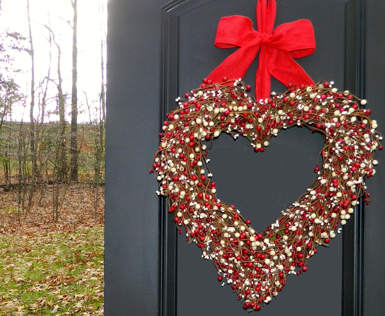 Heart Wreath Valentine Wreath Valentine Gift Door Wreath