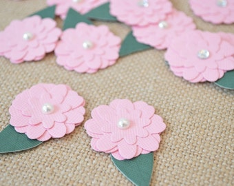 Flower handmade paper - flowers Set of 12 Flower Embellishments