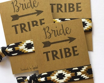Bachelorette Party Favor - Bride Tribe Hair Tie Favor - Bachelorette Hair Ties - Bachelorette Party - Boho Tribal Aztec Chevron Arrow Print