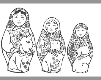 Bull Terrier Colouring Page and Mini Print Russian Doll/Matryoshka Christmas and Floral versions
