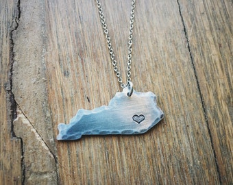 Hand stamped, heart, location, Kentucky necklace