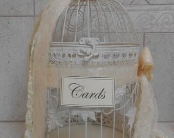 Large Birdcage Wedding Card Holder / Card Box / Birdcage Wedding Cardholder / Ivory Birdcage Wedding Card Holder / Wedding Decoration