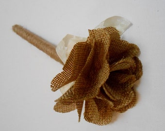 Burlap Flower Pen / Rustic Wedding Flower Pen / Guest Book Pen / Sign In Pen / Burlap Wedding Decorations / Flower Pen / Shabby Flower Pen