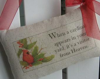 When a Cardinal Appears In Your Yard, Door Pillow, Cardinals, Sympathy, Door Hanger, Woodland, Memorial, Door Decor, Birds, Established Date