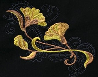 Steampunk Nouveau Ginkgo Leaves Embroidered Flour Sack Hand/Dish Towel