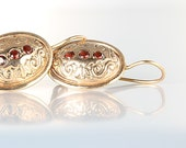 Garnet Rose Gold Earrings, Victorian revival jewelry, 14K Solid Gold earrings, French wires pierced ears