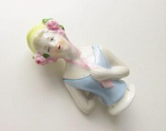 Vintage Art Deco German Porcelain Flapper Figurine Half Doll Hat Pin Doll 1920s
