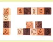 ANY NUMBER personalized wooden name block sets - natural wood toys, hardwood letter and number alphabet blocks for baby and child, 1-40