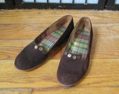 Vintage Shoes Brown Suede Flats by American Girl 7  / 7.5  Made in USA 1950s 1960s Casual Loafer Style Slip Ons