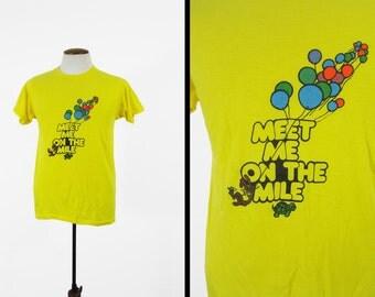 Vintage 80s Coral Gables T-shirt Florida Balloons Paper Thin Yellow 5050 Tee - Medium