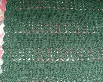 Crocheted Dark Green (Sage) Afghan (sm5)