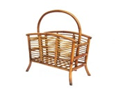 RESERVED Vintage Bamboo Rattan Magazine Newspaper Holder with Handle Natural Wood