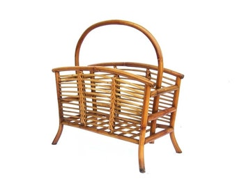 Vintage Bamboo Rattan Magazine Newspaper Holder with Handle Natural Wood