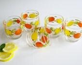 Vintage, Rocks Glasses, Drinking Glasses, Oranges, Lemons, Citrus Fruit, Juice Glass, Barware, Old Fashioned, Orange yellow, Ocean Glassware