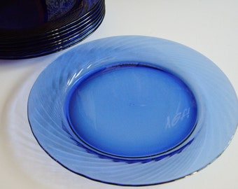Vintage Glass Plates, Pyrex Festiva Swirl, Cobalt Blue, Large Plates, Chargers, Set of 8, Near New Condition, Dinner Plates, Pyrex Plates