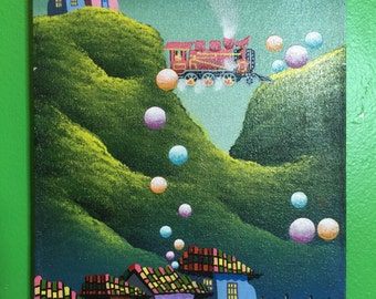 Surrealism Art. Train and Village. Art. Handpainted Andes Mountains. Childs Room