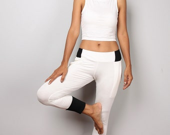 Off white pants / off white yoga pants / semi long white pants : Urban Chic Collection no 39