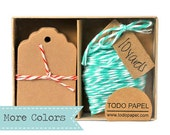 READY TO SHIP | Kraft mini tag and mint bakers twine gift boxed set. Choose your color twine. Gift Tags with Twine Pretty color cotton floss