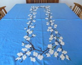 Linen Rectangle Table Cloth Large Tablecloth Cherry Blossom Embroidered Table Cover French Blue Linen Fabric 5 ft x 9ft Dining Tablecloth