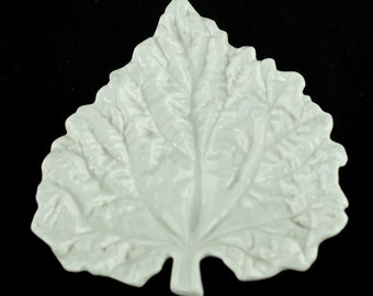 "Antique Spode ""Savoy"" White Cabbage Leaf Tray"